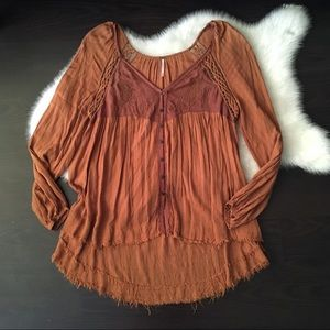 Free People Brown Tunic Button Shirt Top